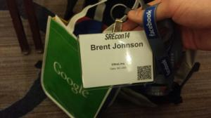 SREcon14 badge.